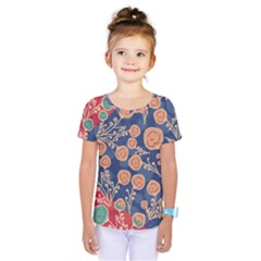 Floral Red Blue Flower Kids  One Piece Tee