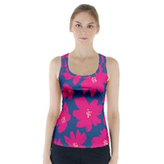 Flower Red Blue Racer Back Sports Top