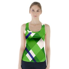 Green Plaid Racer Back Sports Top