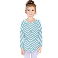 Geometric Blue Kids  Long Sleeve Tee