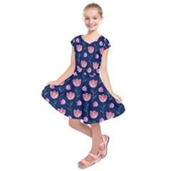 Flower Tulip Floral Pink Blue Kids  Short Sleeve Dress