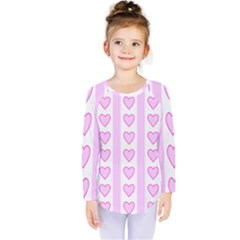 Heart Pink Valentine Day Kids  Long Sleeve Tee