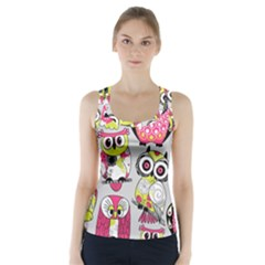 Illustration Seamless Colourful Owl Pattern Racer Back Sports Top