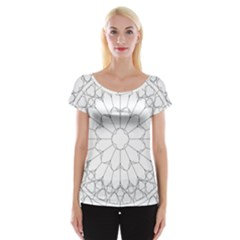 Roses Stained Glass Women s Cap Sleeve Top