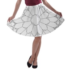 Roses Stained Glass A Line Skater Skirt