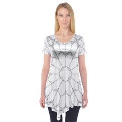 Roses Stained Glass Short Sleeve Tunic