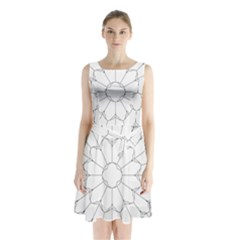 Roses Stained Glass Sleeveless Chiffon Waist Tie Dress