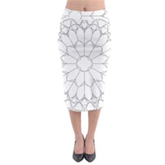Roses Stained Glass Midi Pencil Skirt