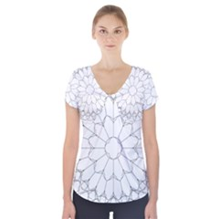 Roses Stained Glass Short Sleeve Front Detail Top