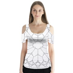 Roses Stained Glass Butterfly Sleeve Cutout Tee
