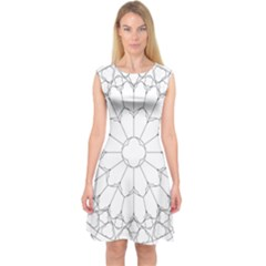 Roses Stained Glass Capsleeve Midi Dress