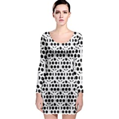 Seamless Honeycomb Pattern Long Sleeve Bodycon Dress