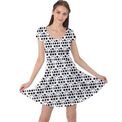 Seamless Honeycomb Pattern Cap Sleeve Dresses
