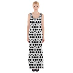 Seamless Honeycomb Pattern Maxi Thigh Split Dress