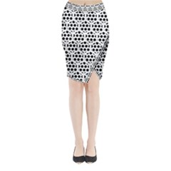 Seamless Honeycomb Pattern Midi Wrap Pencil Skirt