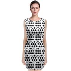 Seamless Honeycomb Pattern Sleeveless Velvet Midi Dress