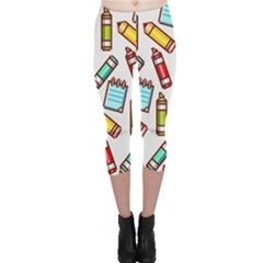 Seamless Pixel Art Pattern Capri Leggings