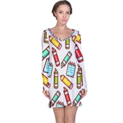 Seamless Pixel Art Pattern Long Sleeve Nightdress