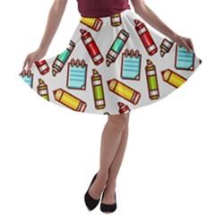 Seamless Pixel Art Pattern A Line Skater Skirt