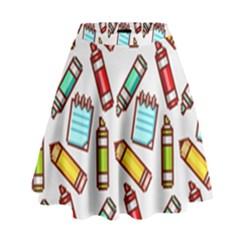 Seamless Pixel Art Pattern High Waist Skirt