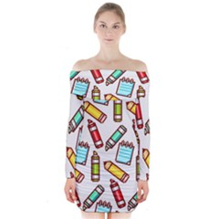 Seamless Pixel Art Pattern Long Sleeve Off Shoulder Dress