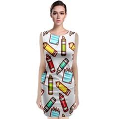 Seamless Pixel Art Pattern Sleeveless Velvet Midi Dress