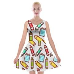 Seamless Pixel Art Pattern Velvet Skater Dress