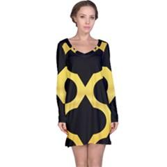Seamless Gold Pattern Long Sleeve Nightdress