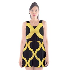 Seamless Gold Pattern Scoop Neck Skater Dress
