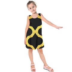 Seamless Gold Pattern Kids  Sleeveless Dress