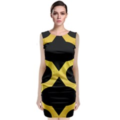 Seamless Gold Pattern Sleeveless Velvet Midi Dress