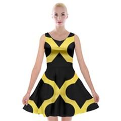 Seamless Gold Pattern Velvet Skater Dress