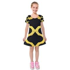 Seamless Gold Pattern Kids  Short Sleeve Velvet Dress