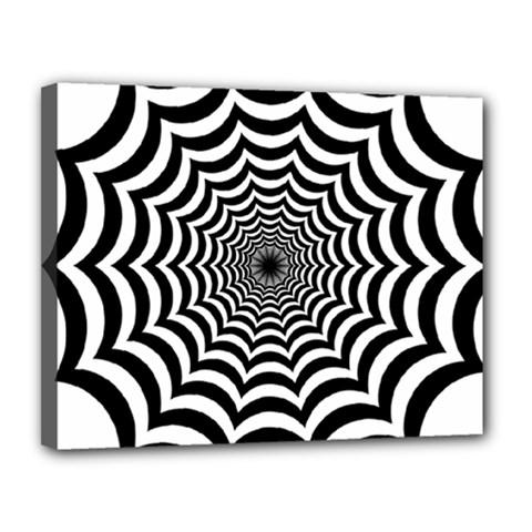 Spider Web Hypnotic Canvas 14  X 11