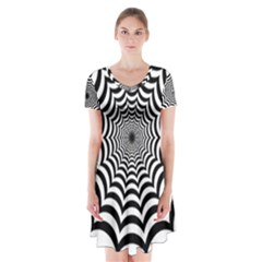 Spider Web Hypnotic Short Sleeve V Neck Flare Dress