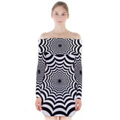 Spider Web Hypnotic Long Sleeve Off Shoulder Dress