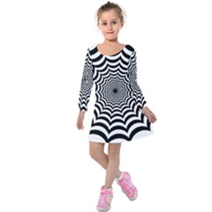 Spider Web Hypnotic Kids  Long Sleeve Velvet Dress