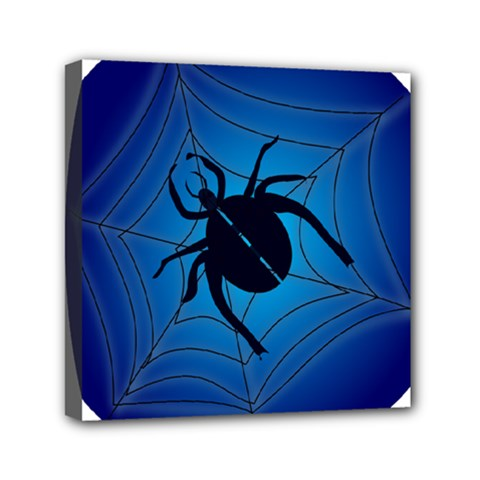 Spider On Web Mini Canvas 6  X 6