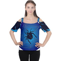 Spider On Web Women s Cutout Shoulder Tee