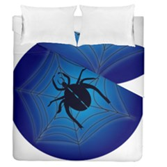 Spider On Web Duvet Cover Double Side (queen Size)
