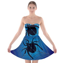 Spider On Web Strapless Bra Top Dress