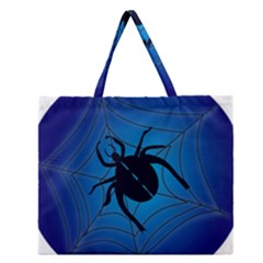 Spider On Web Zipper Large Tote Bag