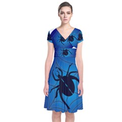 Spider On Web Short Sleeve Front Wrap Dress