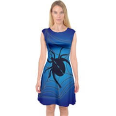 Spider On Web Capsleeve Midi Dress
