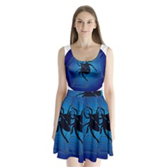Spider On Web Split Back Mini Dress