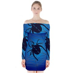 Spider On Web Long Sleeve Off Shoulder Dress