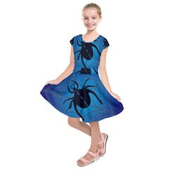 Spider On Web Kids  Short Sleeve Dress