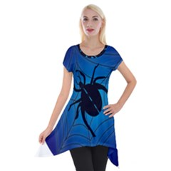 Spider On Web Short Sleeve Side Drop Tunic