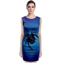 Spider On Web Sleeveless Velvet Midi Dress