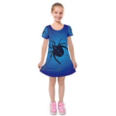 Spider On Web Kids  Short Sleeve Velvet Dress